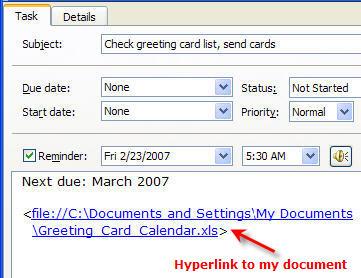 Outlook Task Settings